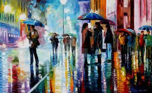 Bus Stop - Under The Rain by Leonid Afremov by Leonidafremov