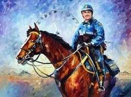 Police On Horseback by Leonid Afremov by Leonidafremov