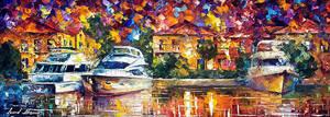 Yacht by Leonid Afremov by Leonidafremov