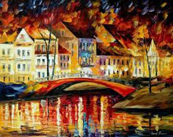 Red Bridge by Leonid Afremov by Leonidafremov