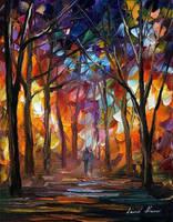 Night Forest by Leonid Afremov by Leonidafremov