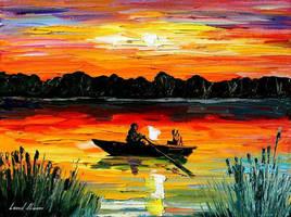 Sunset Over Lake by Leonid Afremov by Leonidafremov