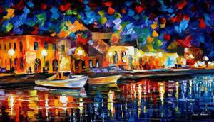 Night Riverfront by Leonid Afremov by Leonidafremov
