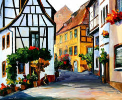 Germany - Town On The Hill by Leonid Afremov by Leonidafremov