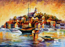 Town On The Hill by Leonid Afremov by Leonidafremov