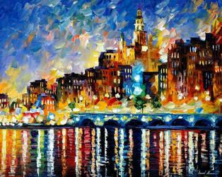Glowing Harbor by Leonid Afremov by Leonidafremov