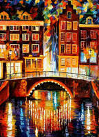 Amsterdam - Little Bridge by Leonid Afremov by Leonidafremov