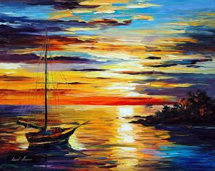 Spring Harbor by Leonid Afremov by Leonidafremov