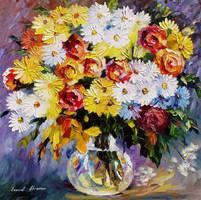Morning Flowers by Leonid Afremov by Leonidafremov