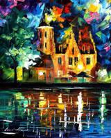 Town By Riverside by Leonid Afremov by Leonidafremov