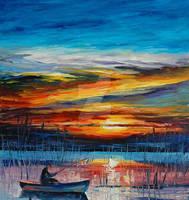 Morning Fishing by Leonid Afremov by Leonidafremov