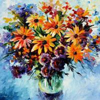 Morning Bouquet by Leonid Afremov by Leonidafremov