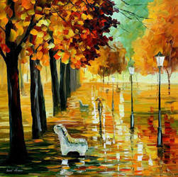 Autumn's Kiss by Leonid Afremov by Leonidafremov