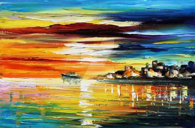 Sunset's Smile by Leonid Afremov by Leonidafremov
