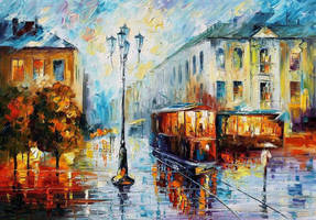 Old Street by Leonid Afremov by Leonidafremov