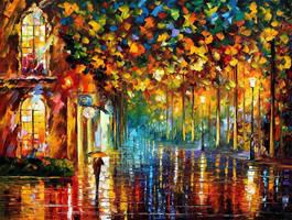 Late Stroll - Miami by Leonid Afremov by Leonidafremov