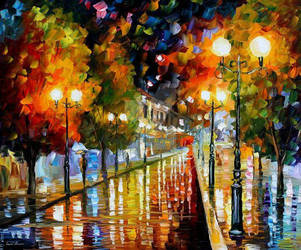 Rainy Perspective by Leonid Afremov by Leonidafremov