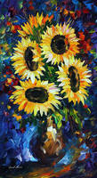 Night Sunflowers by Leonid Afremov by Leonidafremov