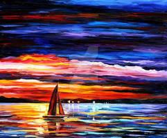 Night Sea by Leonid Afremov by Leonidafremov