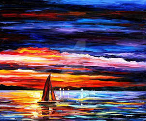 Night Sea by Leonid Afremov by Leonidafremov