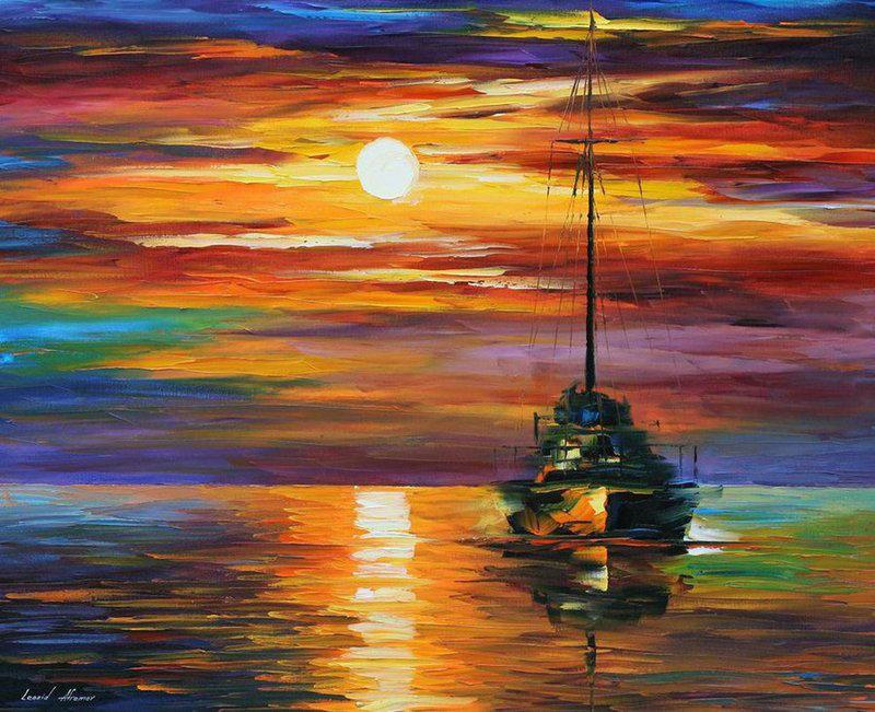 Calm Sunset by Leonid Afremov by Leonidafremov