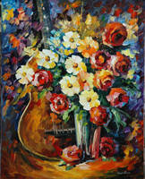 Guitar And Flowers by Leonid Afremov by Leonidafremov