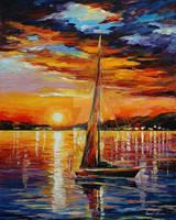 Sail In Sunset by Leonid Afremov by Leonidafremov