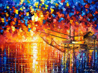 Wooden Dock by Leonid Afremov by Leonidafremov