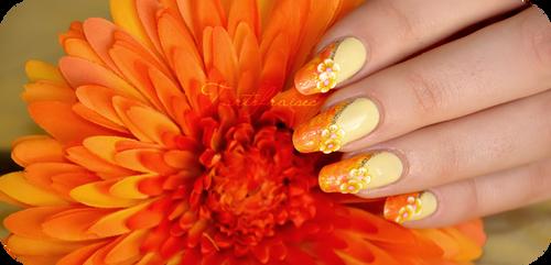 Sun marble nail by Tartofraises