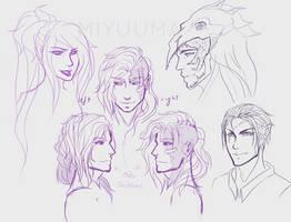 Headshot Sketches by miyuuma