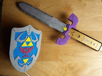Hylian Shield and Master Sword by omnomphenomenonArt