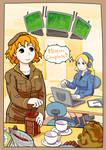 meg and Sophie -Coffee Break- by laoyue
