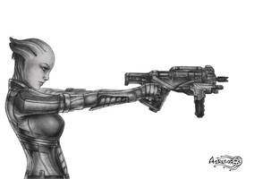 Mass Effect 3 Liara_Thorny Rose bw by Agregor