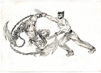 Kratos vs. Wolverine by mevsk