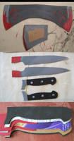 Gasai Yuno Knife and Axe WIPs by xxayaneko