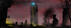 Futuristic cityscape by littlewing2