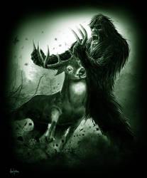 Bigfoot vs deer by littlewing2