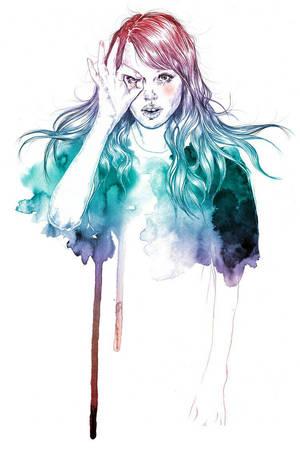 girl in the water colors by ItzizzehzART