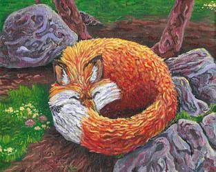 Sleepy Fox by kookybat
