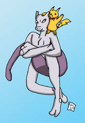 Art Trade [LittleSnaketail (Mewtwo and Pikachu)] by Retro7