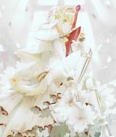 Saber Bride Fate Extra minecraft pixel art by InfiniteMinecraftArt