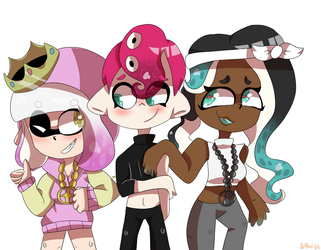 Agent 8 with Pearl and Marina by SquibKibb