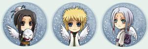 Naruto Button set 5 Angels by Radittz
