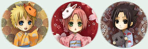 Naruto Button set 6 - Kimono 7 by Radittz