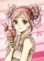 White Chocolate Strawberry Ice Cream by Radittz