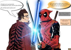Travis Touchdown vs Deadpool by Rorisu