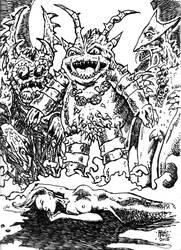 Sacrifice To The Kaiju Gods by ragzdandelion
