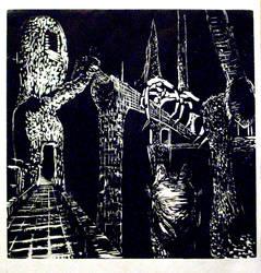 Woodcut: Dakkru's Death Realm by CrimsonskyR