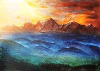 Himalayan sunset by JenniElfi