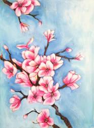 Blue sakura by JenniElfi